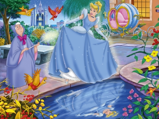 With a flick of her magic wand Cinderella found herself wearing the most beautiful dress she had ever seen.